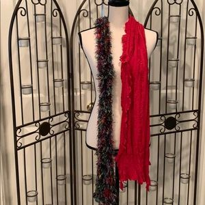 Set of 2 scarves. One red &  other multi-colored